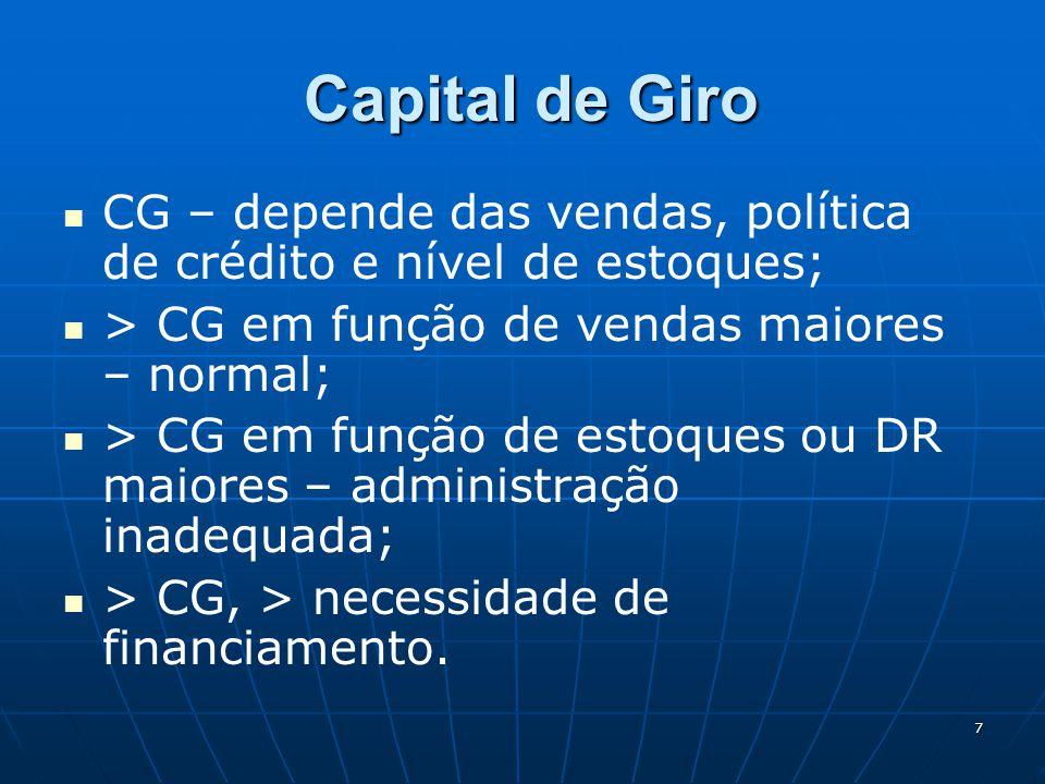 7 Capital de Giro Capital de Giro CG – depende das vendas, política de crédito e nível de estoques; > CG em função de vendas maiores – normal; > CG em
