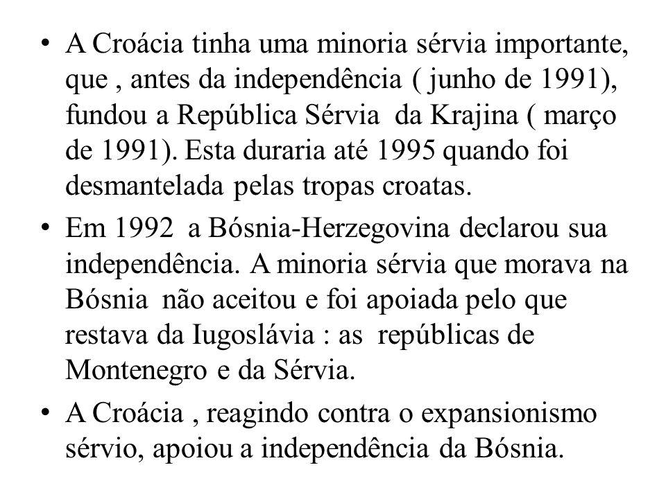 A Croácia tinha uma minoria sérvia importante, que, antes da independência ( junho de 1991), fundou a República Sérvia da Krajina ( março de 1991).
