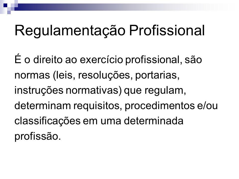 Regulamentação Profissional É o direito ao exercício profissional, são normas (leis, resoluções, portarias, instruções normativas) que regulam, determ