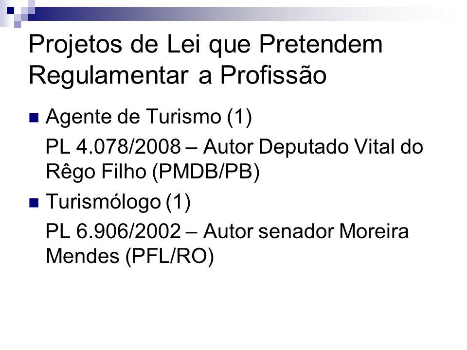 Projetos de Lei que Pretendem Regulamentar a Profissão Agente de Turismo (1) PL 4.078/2008 – Autor Deputado Vital do Rêgo Filho (PMDB/PB) Turismólogo