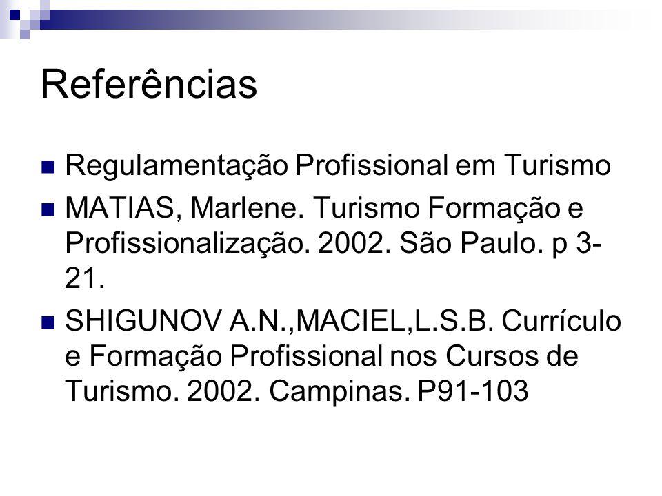 Referências Regulamentação Profissional em Turismo MATIAS, Marlene. Turismo Formação e Profissionalização. 2002. São Paulo. p 3- 21. SHIGUNOV A.N.,MAC