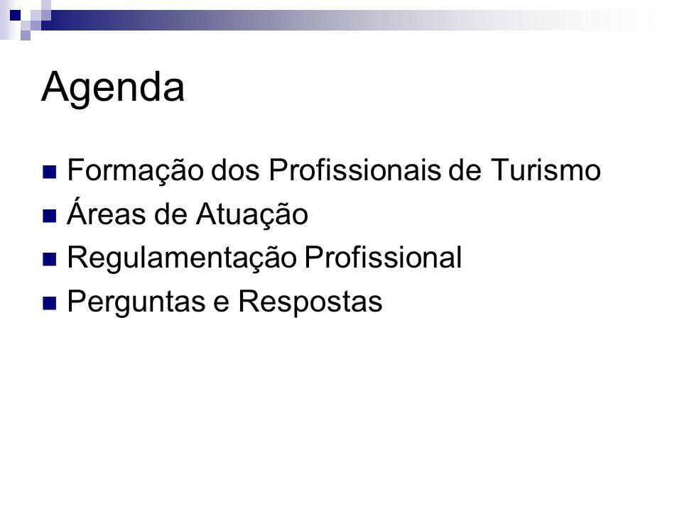 Agenda Formação dos Profissionais de Turismo Áreas de Atuação Regulamentação Profissional Perguntas e Respostas