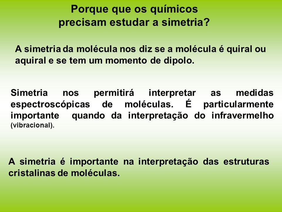 Porque que os químicos precisam estudar a simetria? A simetria da molécula nos diz se a molécula é quiral ou aquiral e se tem um momento de dipolo. Si