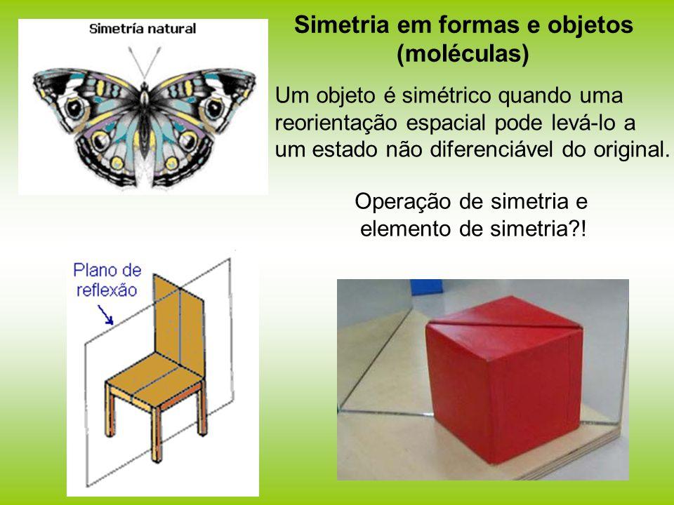 Simetria em formas e objetos (moléculas) Um objeto é simétrico quando uma reorientação espacial pode levá-lo a um estado não diferenciável do original