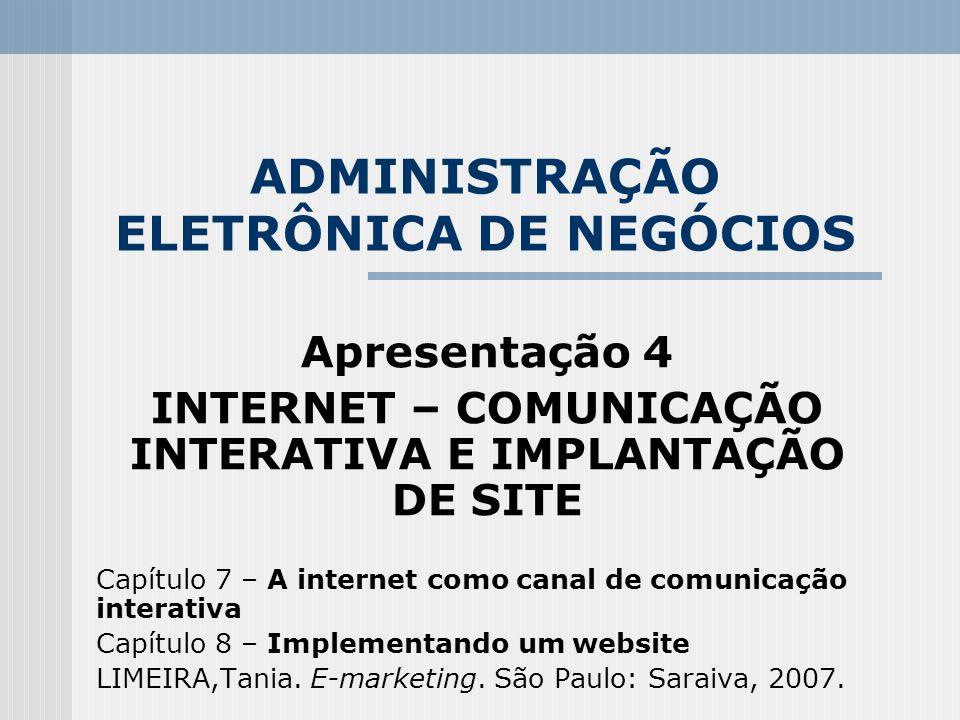ADMINISTRAÇÃO ELETRÔNICA DE NEGÓCIOS Apresentação 4 INTERNET – COMUNICAÇÃO INTERATIVA E IMPLANTAÇÃO DE SITE Capítulo 7 – A internet como canal de comu
