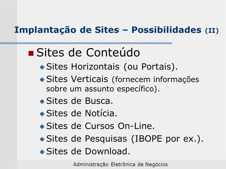 Administração Eletrônica de Negócios Implantação de Sites – Possibilidades (II) Sites de Conteúdo Sites Horizontais (ou Portais). Sites Verticais (for