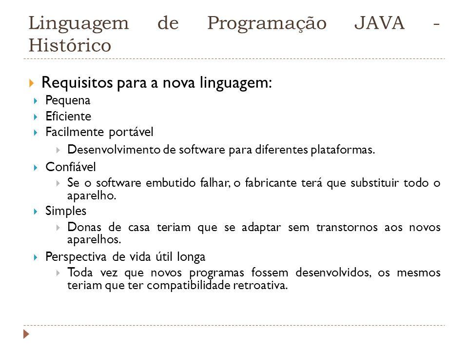 Linguagem de Programação JAVA - Histórico Requisitos para a nova linguagem: Pequena Eficiente Facilmente portável Desenvolvimento de software para dif