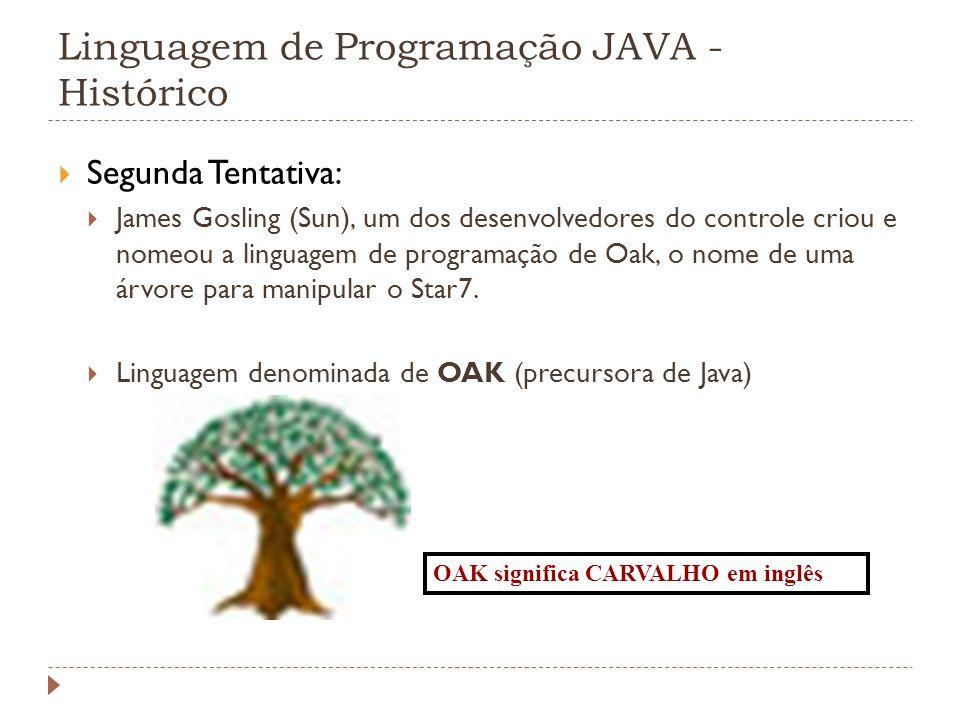 Linguagem de Programação JAVA - Histórico Segunda Tentativa: James Gosling (Sun), um dos desenvolvedores do controle criou e nomeou a linguagem de pro