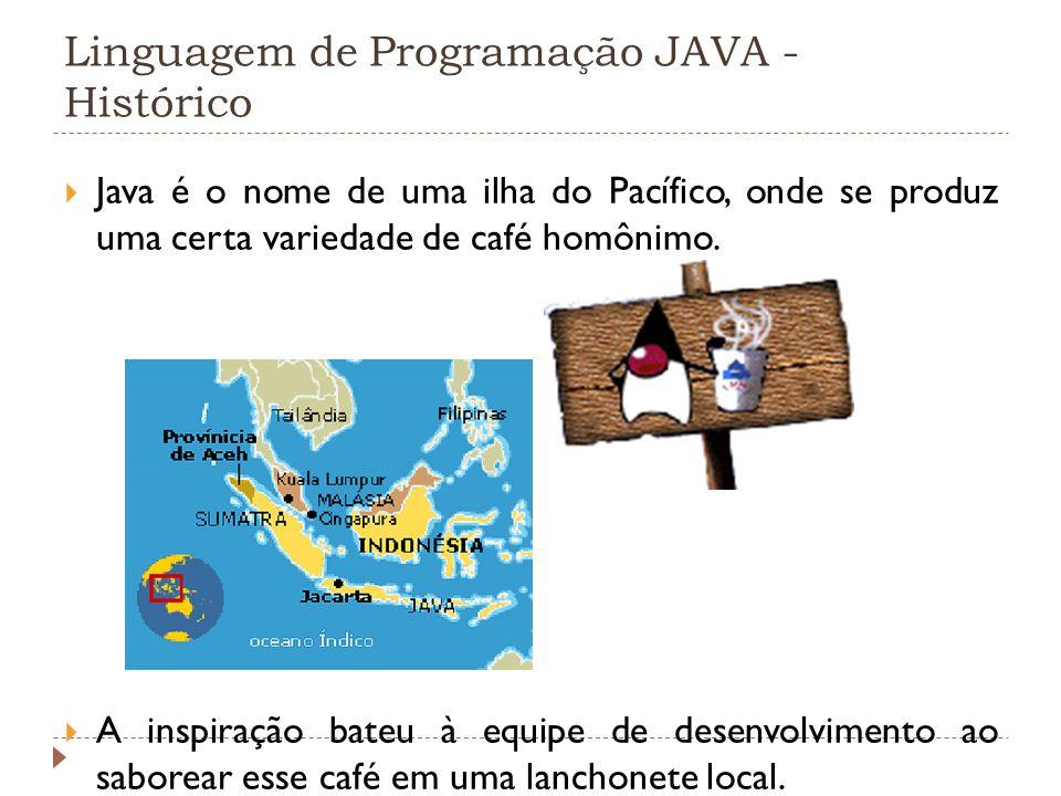 Linguagem de Programação JAVA - Histórico Java é o nome de uma ilha do Pacífico, onde se produz uma certa variedade de café homônimo. A inspiração bat