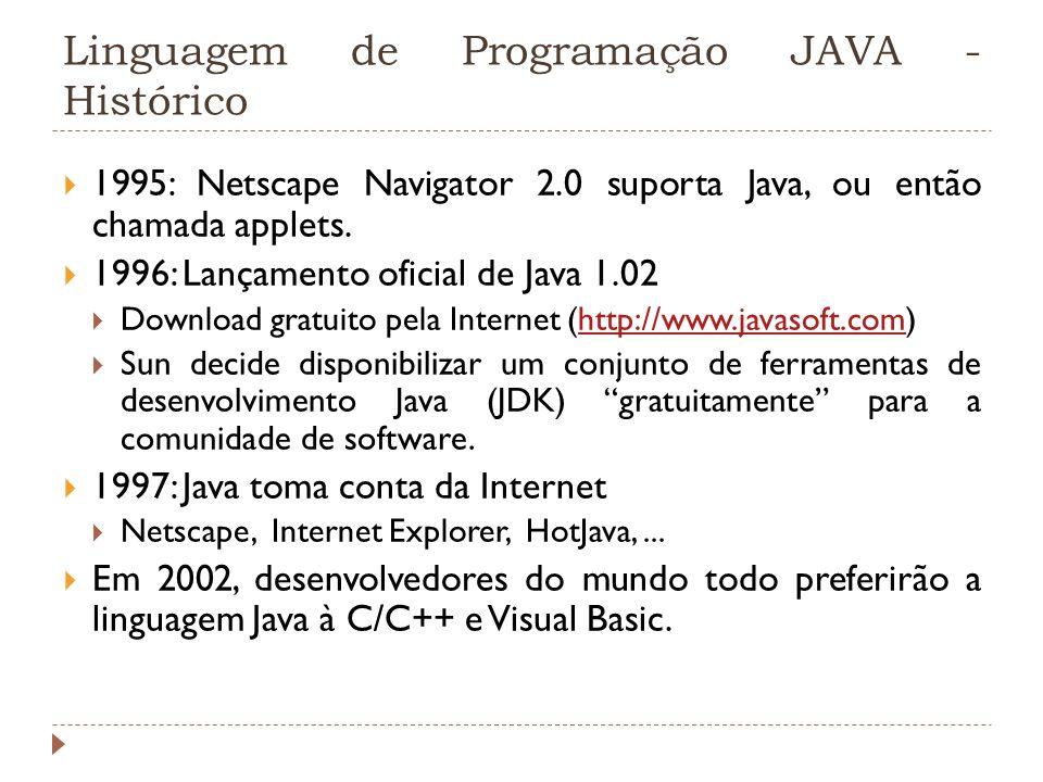 Linguagem de Programação JAVA - Histórico 1995: Netscape Navigator 2.0 suporta Java, ou então chamada applets. 1996: Lançamento oficial de Java 1.02 D