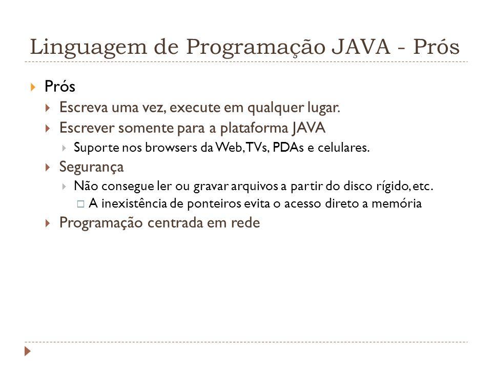 Linguagem de Programação JAVA - Prós Prós Escreva uma vez, execute em qualquer lugar. Escrever somente para a plataforma JAVA Suporte nos browsers da