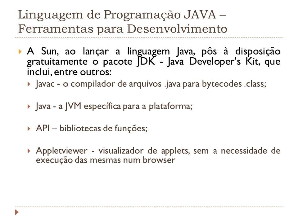 Linguagem de Programação JAVA – Ferramentas para Desenvolvimento A Sun, ao lançar a linguagem Java, pôs à disposição gratuitamente o pacote JDK - Java