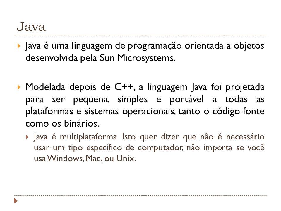 Linguagem de Programação JAVA – Ferramentas para Desenvolvimento A Sun, ao lançar a linguagem Java, pôs à disposição gratuitamente o pacote JDK - Java Developer s Kit, que inclui, entre outros: Javac - o compilador de arquivos.java para bytecodes.class; Java - a JVM específica para a plataforma; API – bibliotecas de funções; Appletviewer - visualizador de applets, sem a necessidade de execução das mesmas num browser