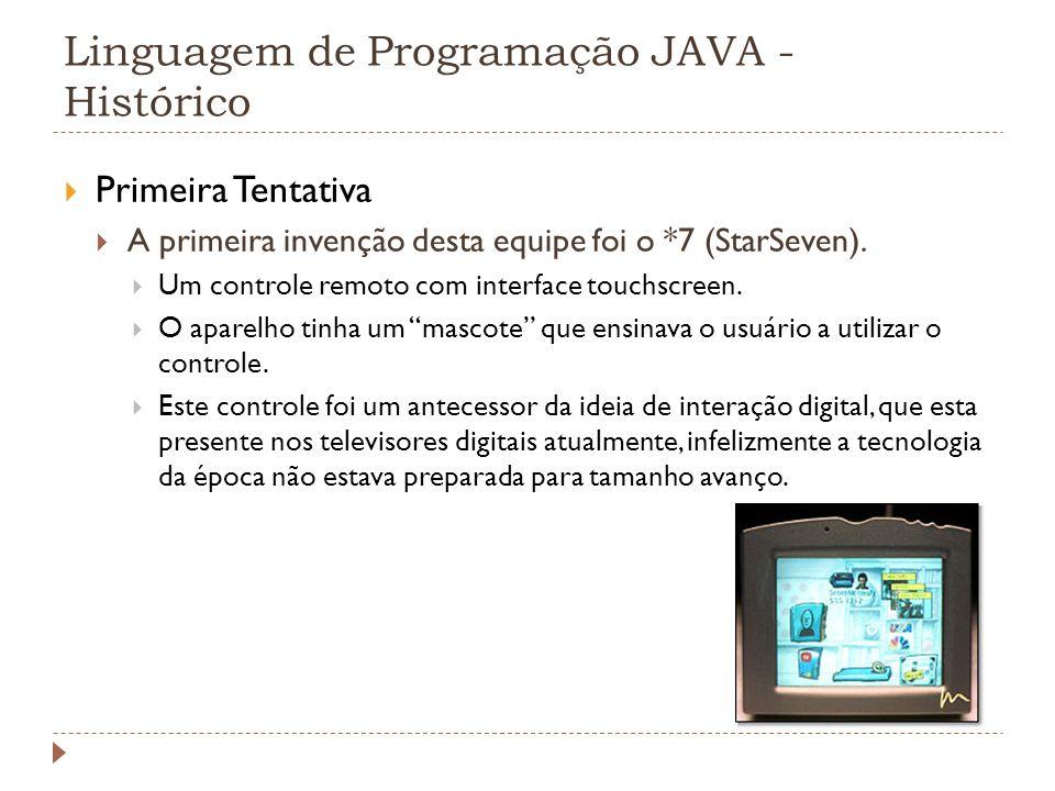 Linguagem de Programação JAVA - Histórico 1995: Netscape Navigator 2.0 suporta Java, ou então chamada applets.