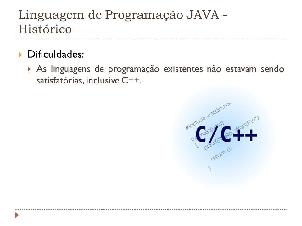 Linguagem de Programação JAVA - Histórico Dificuldades: As linguagens de programação existentes não estavam sendo satisfatórias, inclusive C++.