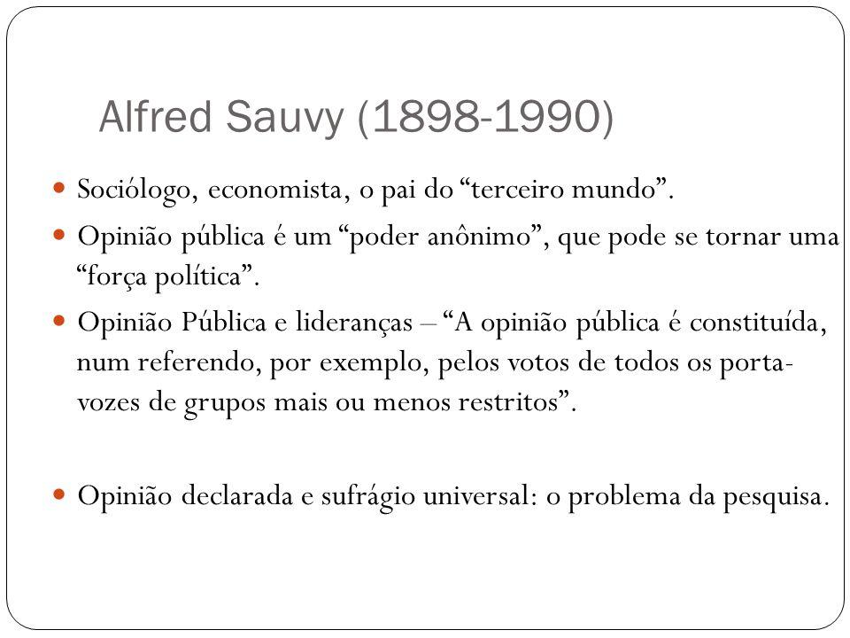 Alfred Sauvy (1898-1990) Sociólogo, economista, o pai do terceiro mundo. Opinião pública é um poder anônimo, que pode se tornar uma força política. Op