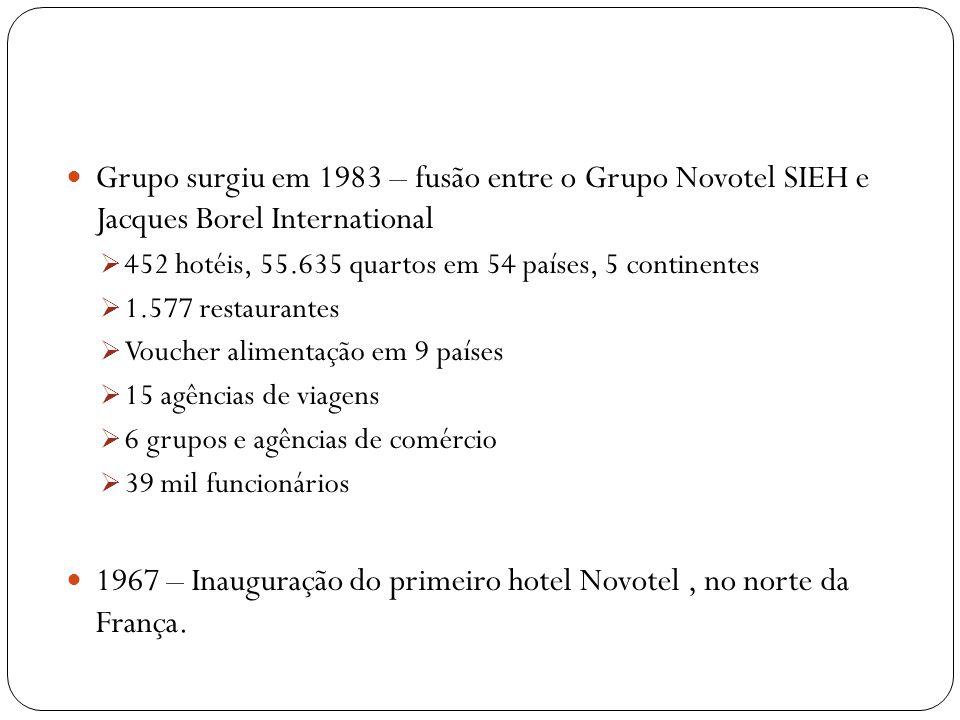 Grupo surgiu em 1983 – fusão entre o Grupo Novotel SIEH e Jacques Borel International 452 hotéis, 55.635 quartos em 54 países, 5 continentes 1.577 res