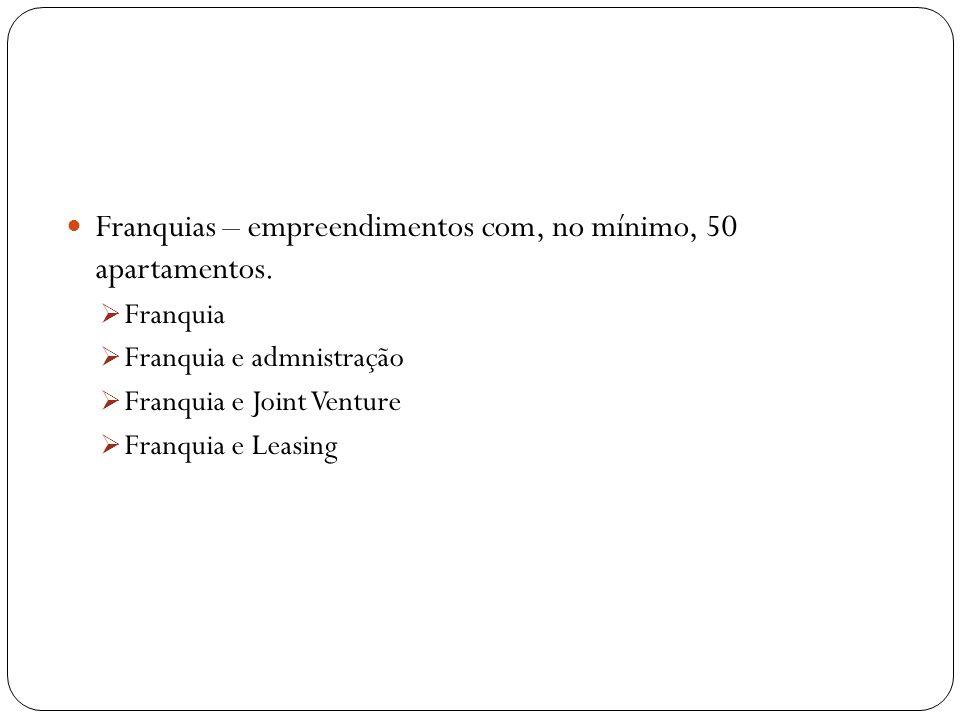 Franquias – empreendimentos com, no mínimo, 50 apartamentos. Franquia Franquia e admnistração Franquia e Joint Venture Franquia e Leasing