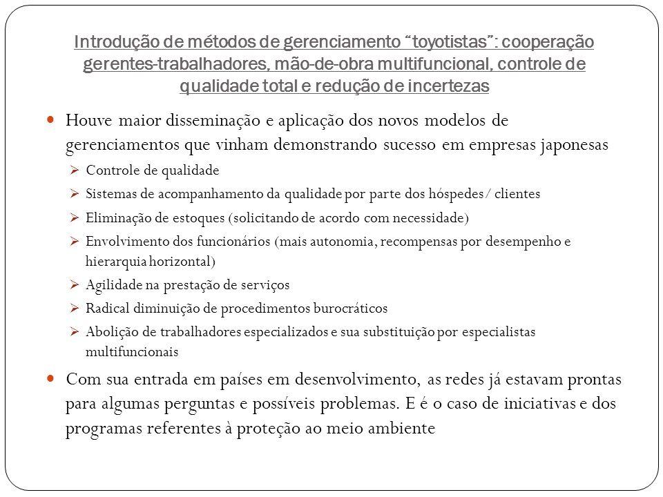 Introdução de métodos de gerenciamento toyotistas: cooperação gerentes-trabalhadores, mão-de-obra multifuncional, controle de qualidade total e reduçã