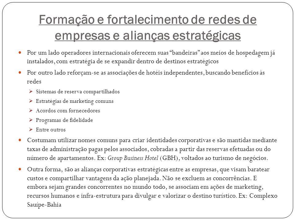 Formação e fortalecimento de redes de empresas e alianças estratégicas Por um lado operadores internacionais oferecem suas bandeiras aos meios de hosp