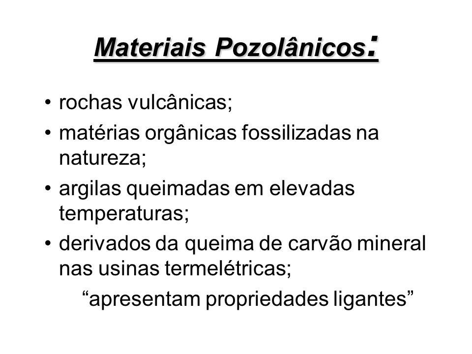 Materiais Pozolânicos : rochas vulcânicas; matérias orgânicas fossilizadas na natureza; argilas queimadas em elevadas temperaturas; derivados da queim