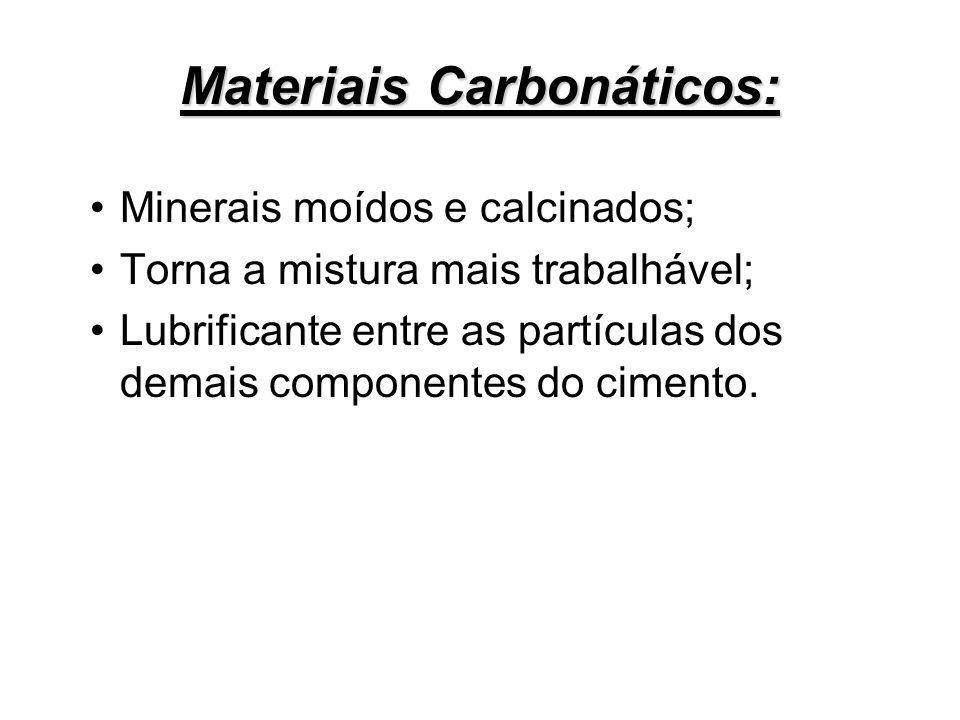 Materiais Carbonáticos: Minerais moídos e calcinados; Torna a mistura mais trabalhável; Lubrificante entre as partículas dos demais componentes do cim