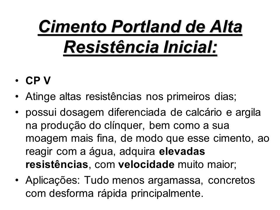 Cimento Portland de Alta Resistência Inicial: CP V Atinge altas resistências nos primeiros dias; possui dosagem diferenciada de calcário e argila na p