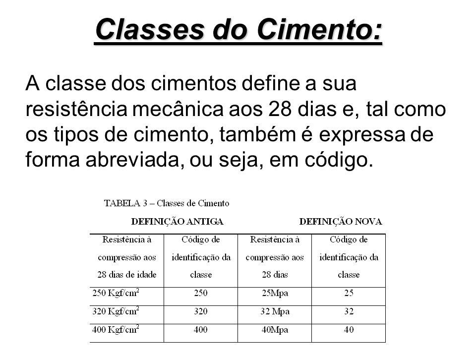 Classes do Cimento: A classe dos cimentos define a sua resistência mecânica aos 28 dias e, tal como os tipos de cimento, também é expressa de forma ab