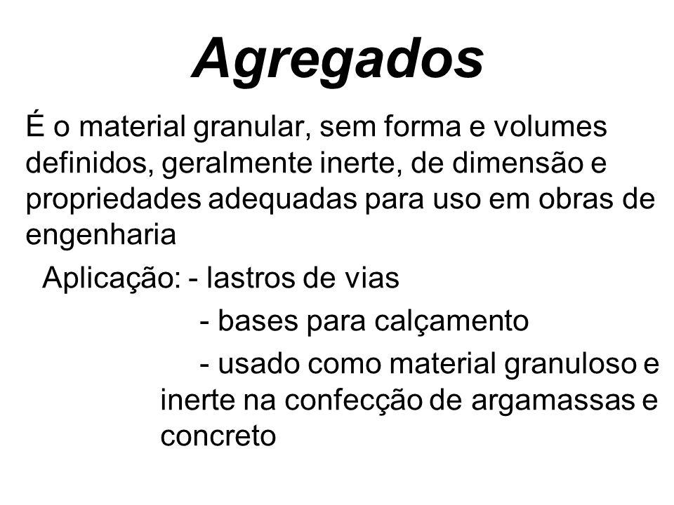 Agregados É o material granular, sem forma e volumes definidos, geralmente inerte, de dimensão e propriedades adequadas para uso em obras de engenhari