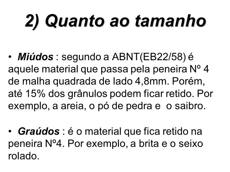 2) Quanto ao tamanho Miúdos : segundo a ABNT(EB22/58) é aquele material que passa pela peneira Nº 4 de malha quadrada de lado 4,8mm. Porém, até 15% do