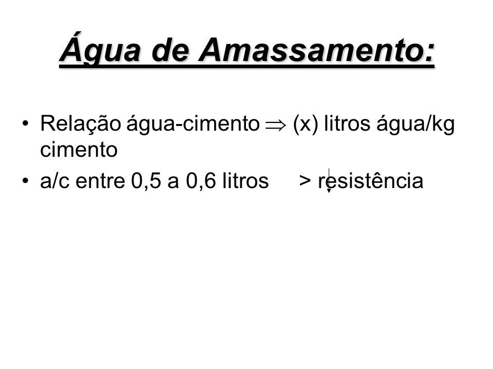 Água de Amassamento: Relação água-cimento (x) litros água/kg cimento a/c entre 0,5 a 0,6 litros > resistência