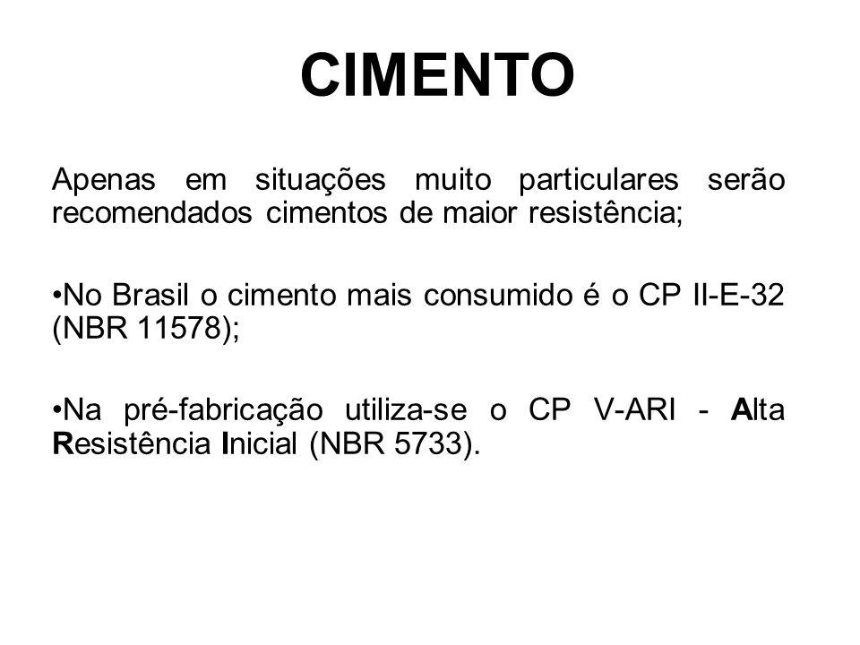 CIMENTO Apenas em situações muito particulares serão recomendados cimentos de maior resistência; No Brasil o cimento mais consumido é o CP II-E-32 (NB