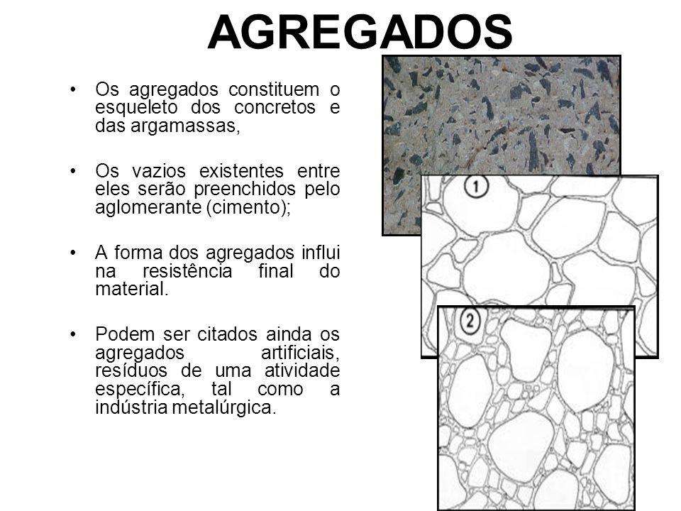 AGREGADOS Os agregados constituem o esqueleto dos concretos e das argamassas, Os vazios existentes entre eles serão preenchidos pelo aglomerante (cime