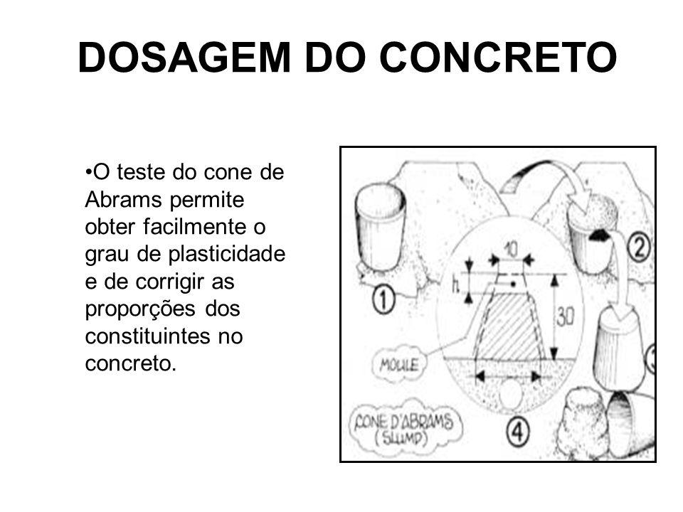 DOSAGEM DO CONCRETO O teste do cone de Abrams permite obter facilmente o grau de plasticidade e de corrigir as proporções dos constituintes no concret