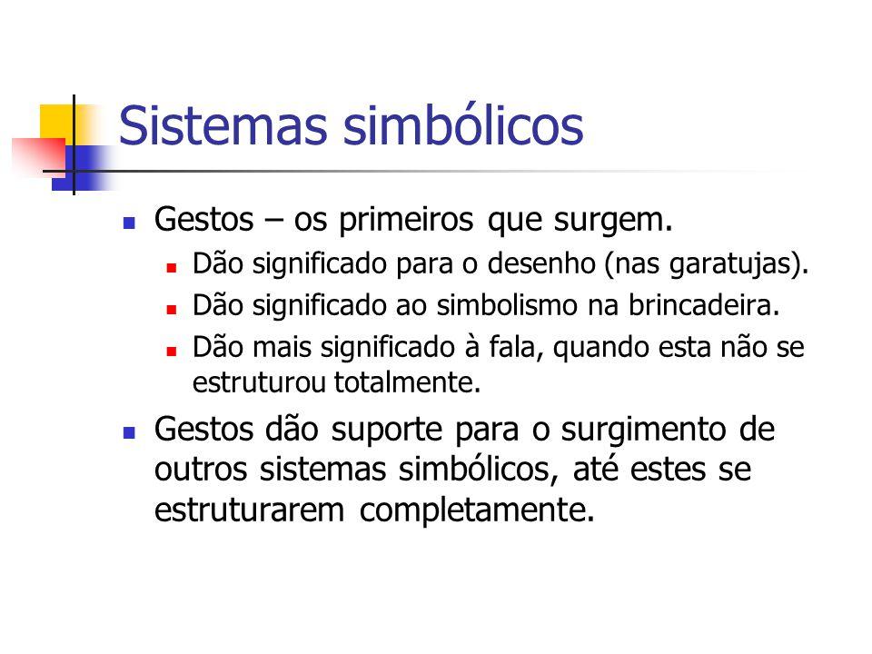 Sistemas simbólicos Gestos – os primeiros que surgem. Dão significado para o desenho (nas garatujas). Dão significado ao simbolismo na brincadeira. Dã