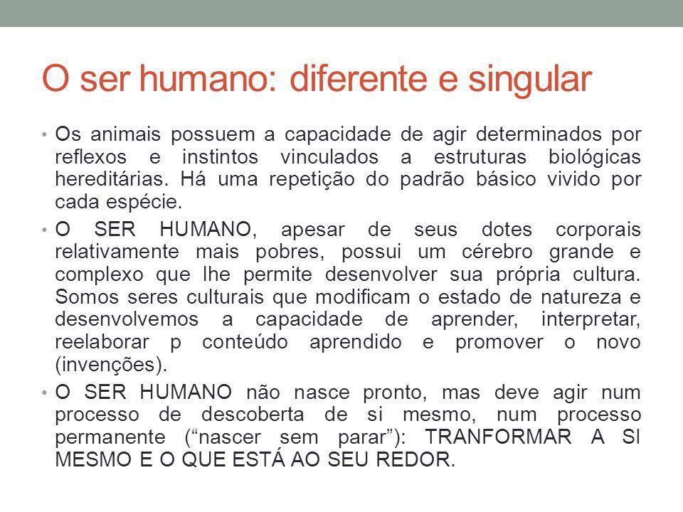 O ser humano: diferente e singular Os animais possuem a capacidade de agir determinados por reflexos e instintos vinculados a estruturas biológicas hereditárias.