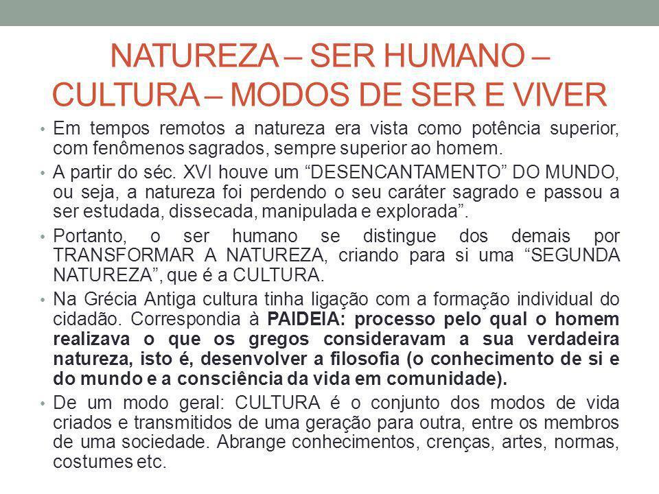 NATUREZA – SER HUMANO – CULTURA – MODOS DE SER E VIVER Em tempos remotos a natureza era vista como potência superior, com fenômenos sagrados, sempre superior ao homem.