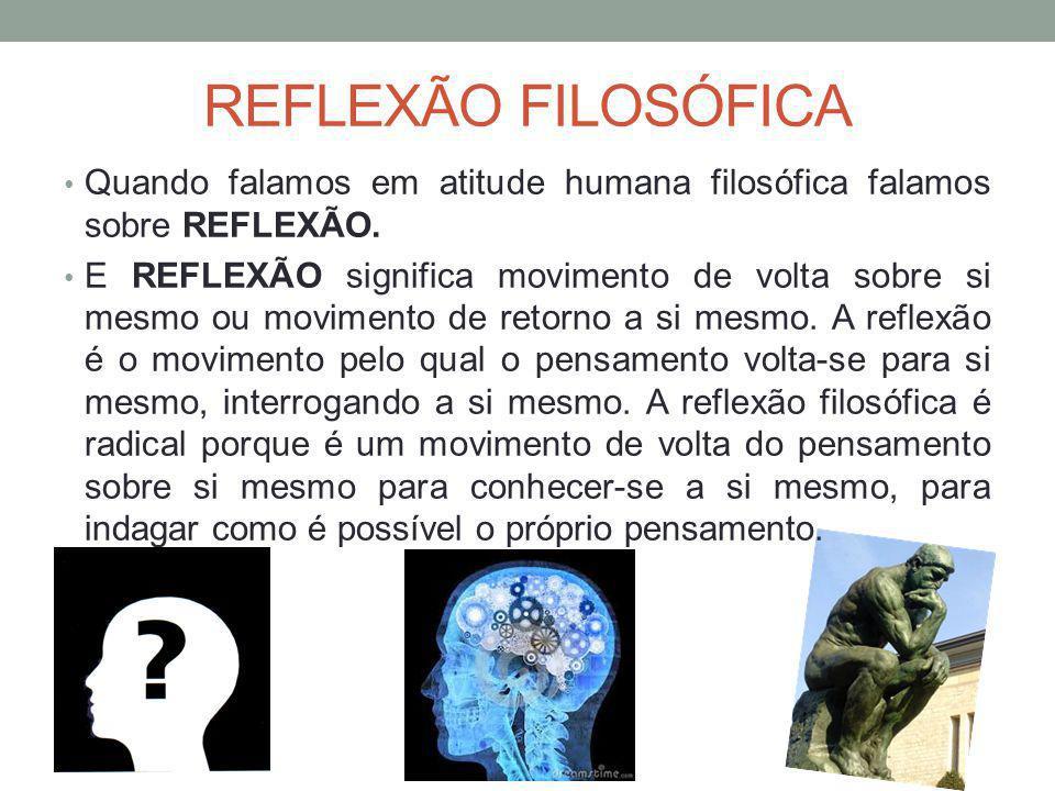 REFLEXÃO FILOSÓFICA Quando falamos em atitude humana filosófica falamos sobre REFLEXÃO.