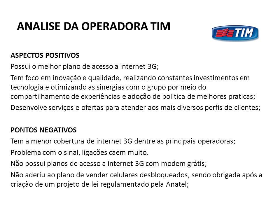 ANALISE DA OPERADORA TIM ASPECTOS POSITIVOS Possui o melhor plano de acesso a internet 3G; Tem foco em inovação e qualidade, realizando constantes inv