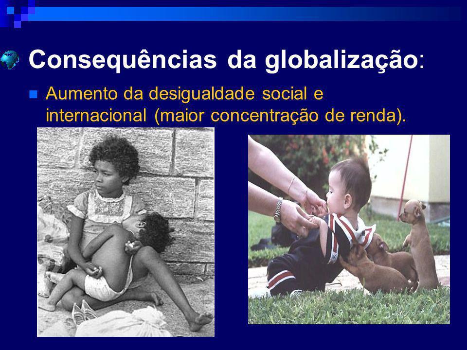 Consequências da globalização: Aumento da desigualdade social e internacional (maior concentração de renda).