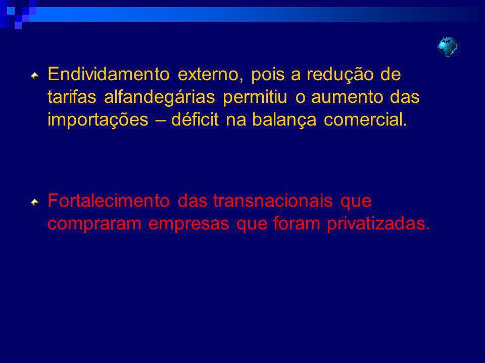 Endividamento externo, pois a redução de tarifas alfandegárias permitiu o aumento das importações – déficit na balança comercial. Fortalecimento das t