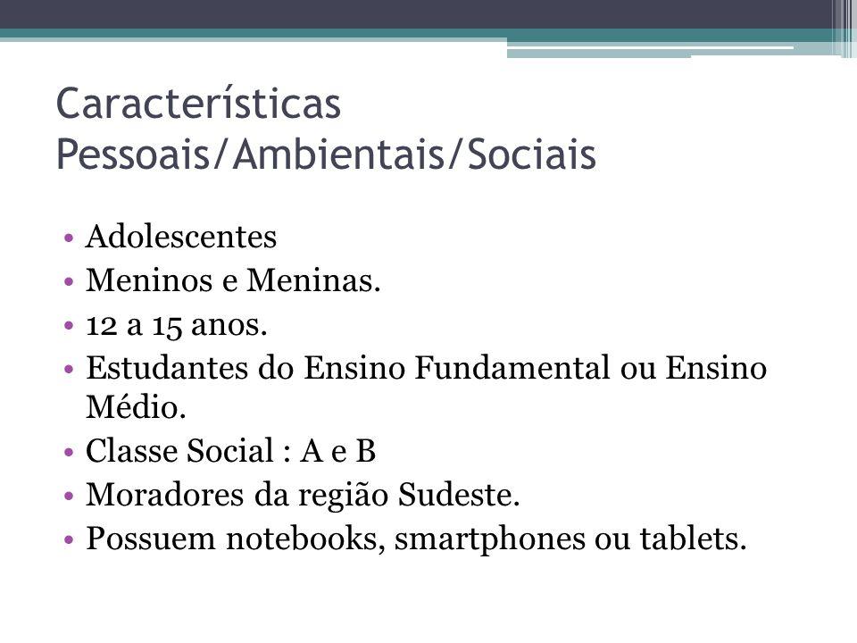 Características Pessoais/Ambientais/Sociais Adolescentes Meninos e Meninas. 12 a 15 anos. Estudantes do Ensino Fundamental ou Ensino Médio. Classe Soc