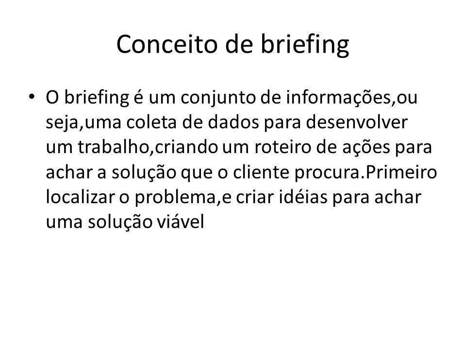 Conceito de briefing O briefing é um conjunto de informações,ou seja,uma coleta de dados para desenvolver um trabalho,criando um roteiro de ações para
