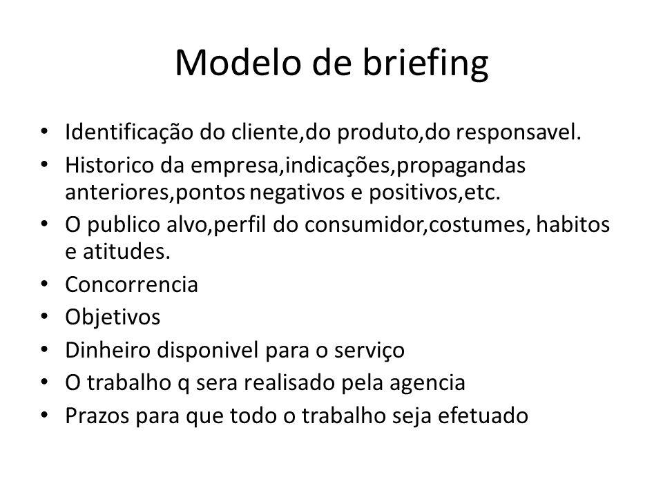 Modelo de briefing Identificação do cliente,do produto,do responsavel. Historico da empresa,indicações,propagandas anteriores,pontos negativos e posit