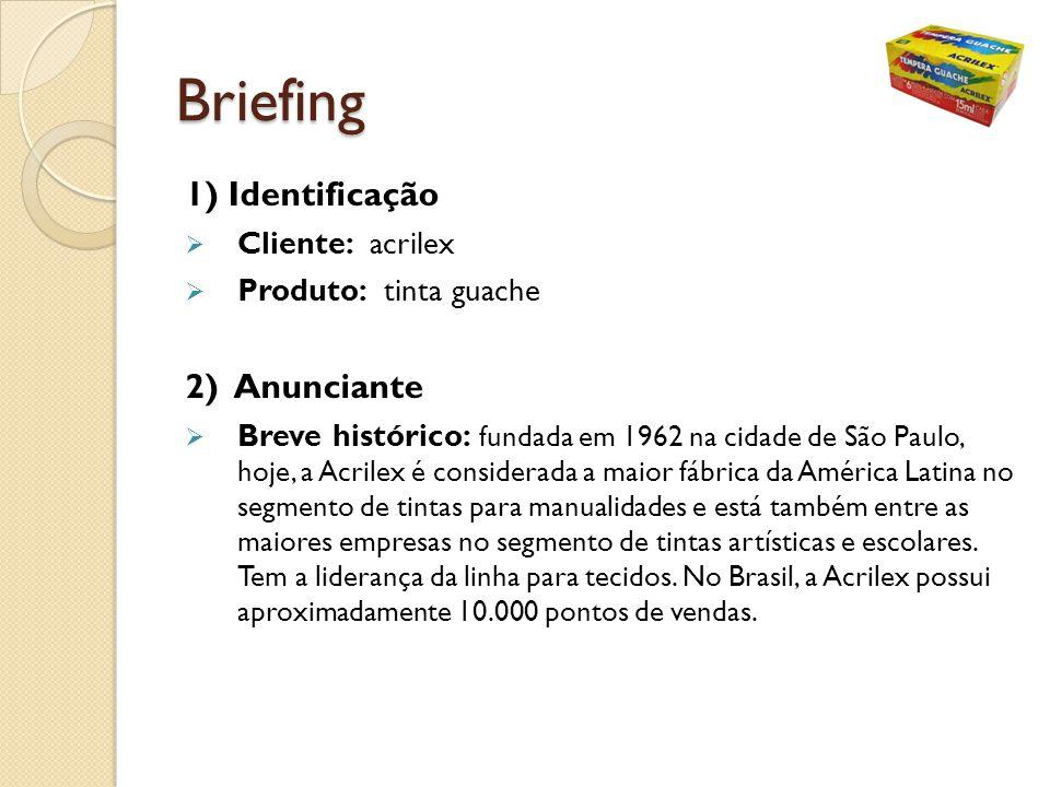 Briefing 1) Identificação Cliente: acrilex Produto: tinta guache 2) Anunciante Breve histórico: fundada em 1962 na cidade de São Paulo, hoje, a Acrile