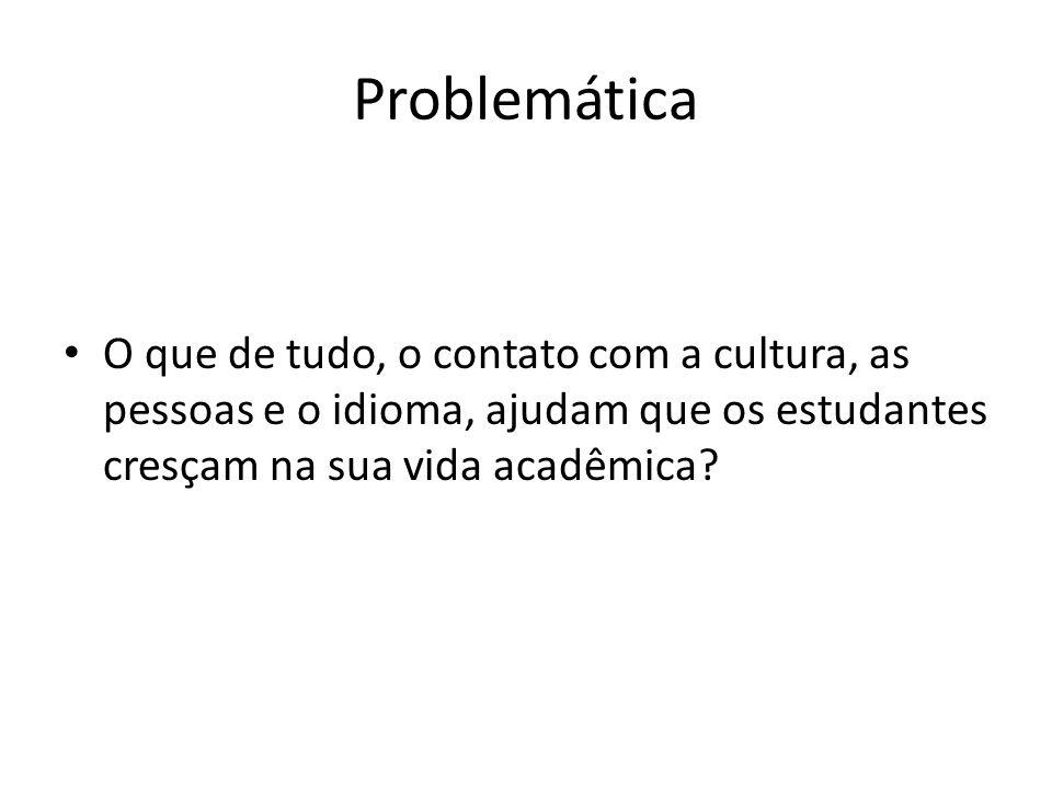 Problemática O que de tudo, o contato com a cultura, as pessoas e o idioma, ajudam que os estudantes cresçam na sua vida acadêmica?
