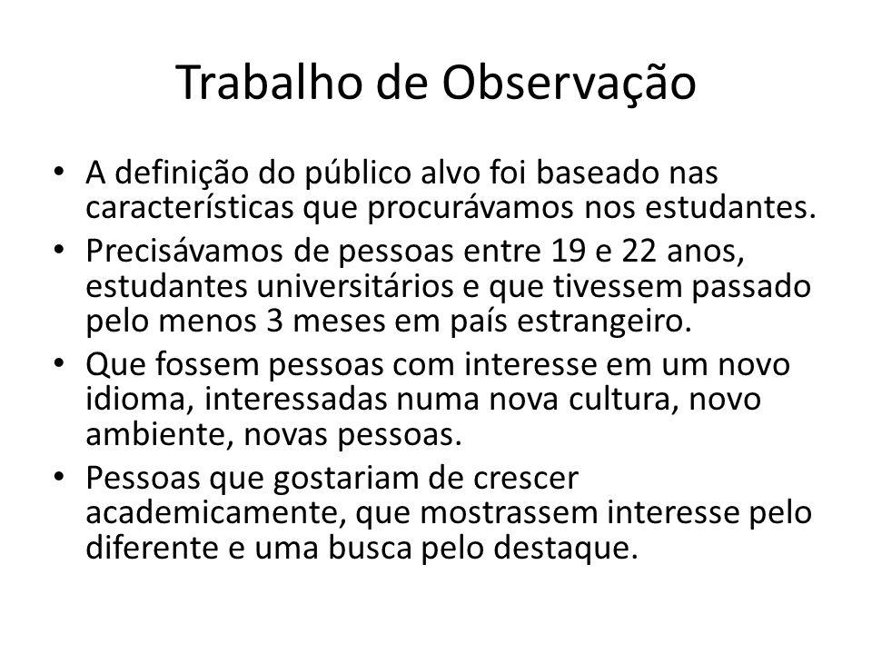 Trabalho de Observação A definição do público alvo foi baseado nas características que procurávamos nos estudantes. Precisávamos de pessoas entre 19 e