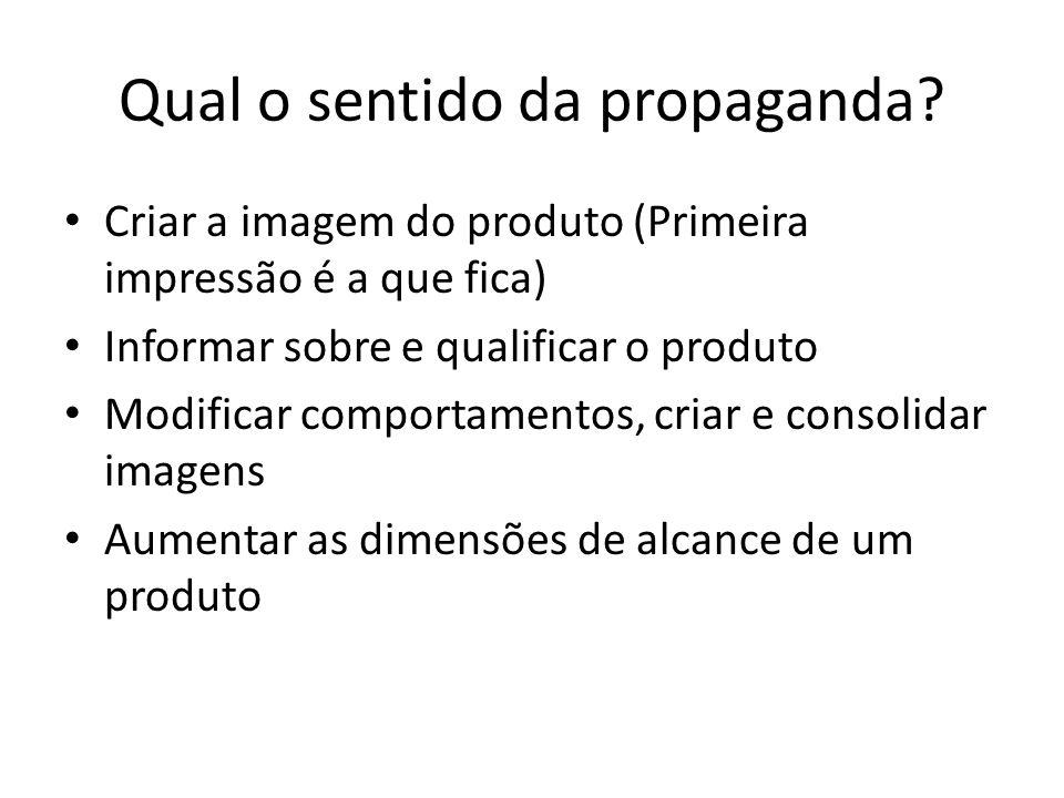 Qual o sentido da propaganda? Criar a imagem do produto (Primeira impressão é a que fica) Informar sobre e qualificar o produto Modificar comportament
