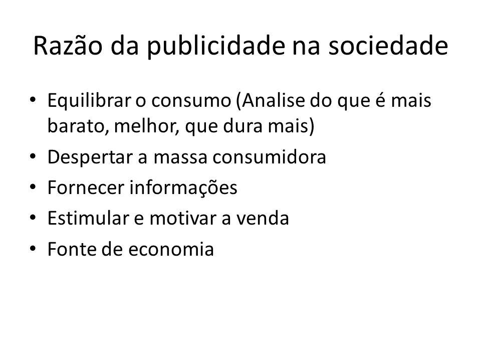 Razão da publicidade na sociedade Equilibrar o consumo (Analise do que é mais barato, melhor, que dura mais) Despertar a massa consumidora Fornecer informações Estimular e motivar a venda Fonte de economia