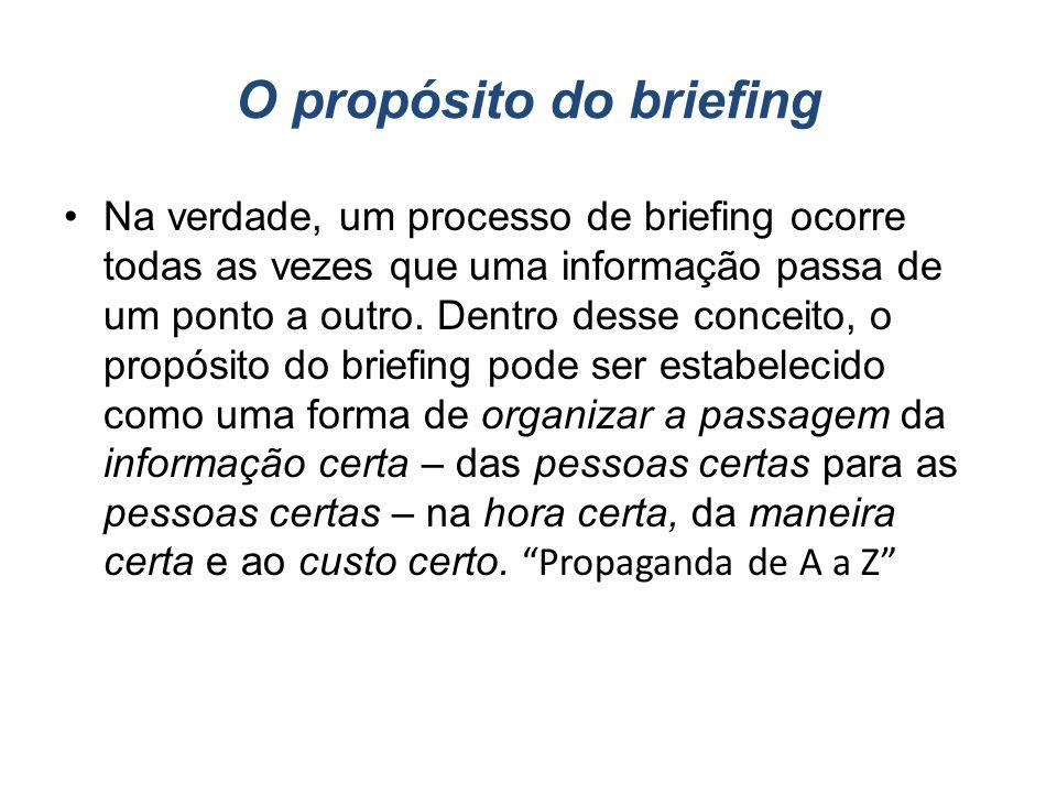 O propósito do briefing Na verdade, um processo de briefing ocorre todas as vezes que uma informação passa de um ponto a outro. Dentro desse conceito,